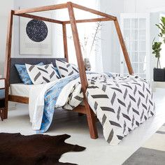 Love the bed frame. Herringbone Duvet Cover Gray, $89 - $109, now featured on Fab.