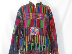 90's Guatemalan Jacket Rainbow Patchwork Jacket by ChinaCatVintage