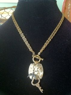 Gold Vintage Watch Face Necklace with Small Bird by Vintage Keyper, $24.00