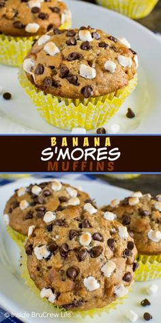 Banana Smores Muffins these easy banana muffins are loaded with chocolate chips and marshmallow bits. Such a delicious and easy recipe to make for breakfast! - Muffins - Ideas of Muffins Chocolate Muffins, Chocolate Marshmallows, Chocolate Ganache, Chocolate Chips, White Chocolate, Köstliche Desserts, Healthy Desserts, Delicious Desserts, Yummy Food