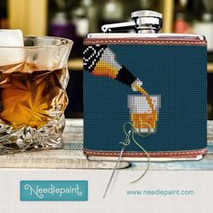 Our Whiskey needlepoint flask makes for a great gift idea for your whiskey enthusiast. Acquired Taste, Free Monogram, Needlepoint Designs, Flasks, Diversity, Design Your Own, Real Leather, Whiskey, Your Favorite