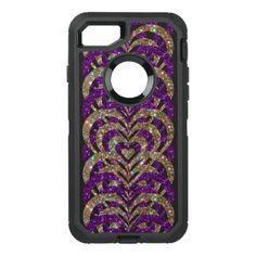 #gold - #Purple & Gold Glitter Spiral Vortex Hearts - OtterBox Defender iPhone 7 Case