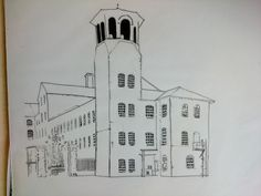 Hand rendered pen and ink drawing  / illustration (view 2), Silk Mill, Derby