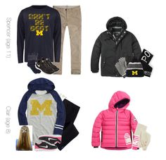 """""""A Monday In December: University of Michigan"""" by teamboby ❤ liked on Polyvore featuring NIKE, Miadora, Canada Goose, Abercrombie & Fitch, Brooks Brothers, J.Crew, women's clothing, women's fashion, women and female"""