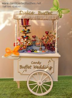 Precioso carrito de caramelos para fiestas, cumpleaños, comuniones, bodas, bautizos...