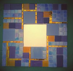 By İlknur Hıçkıran - mirror with border of blue and gold squares