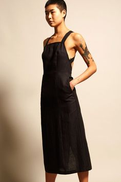 No.6 Mandy Crossback Dress in Black Linen