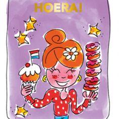Blond Amsterdam thee kaart Hoera (paars)