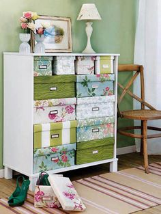 a new and colorful way to add storage space by recycling an old or damaged bureau drawer.