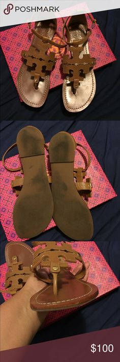 !!!!Tory Burch brown sandals!!! Tory Burch Women's Brown Phoebe Logo Flat Thong Sandal Tan! Sold-out online! This is a REPOSH- only worn two times! It does not come with box or dust bag Tory Burch Shoes