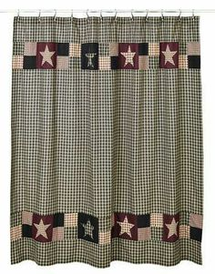 Plum Creek Shower Curtain, by Olivia's Heartland. Add warmth and comfort to your country primitive bathroom with this patchwork shower curtain. Primitive Shower Curtains, Primitive Bathroom Decor, Kitchen Decor, Prim Decor, Primitive Homes, Country Primitive, Primitive Signs, Primitive Crafts, Country Farmhouse