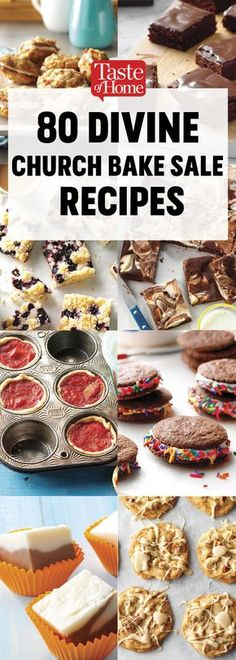 80 Divine Church Bake Sale Recipes - - A good old-fashioned church bake sale is hard to beat. These heavenly cookies, bars, breads and pies will inspire you to bake up a few batches of the delicious money-makers at home. Bake Sale Cookies, Bake Sale Treats, Bake Sale Recipes, Baking Recipes, Desserts For A Crowd, No Bake Desserts, Delicious Desserts, Dessert Recipes, Oreo Desserts