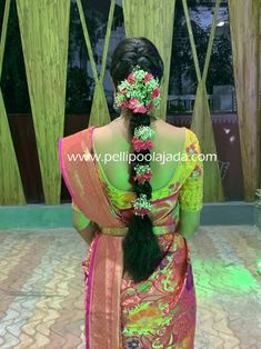 Order Fresh flower poolajada, bridal accessories from our local branches present over SouthIndia, Mumbai, Delhi, Singapore and USA. South Indian Wedding Hairstyles, Bridal Hairstyle Indian Wedding, Bridal Hair Buns, Bridal Hairdo, Hairdo Wedding, Indian Hairstyles, Saree Hairstyles, Bride Hairstyles, Hairstyles 2018