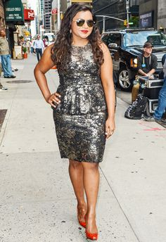 ICYMI: Mindy Kaling Looked Marvelous in Metallic for her Letterman Appearance  #InStyle