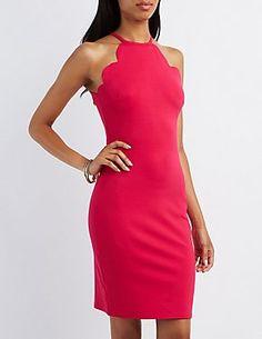 Scalloped Bib Neck Bodycon Dress: Charlotte Russe