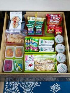 Snack drawer for children, red bin means ask first, green bin means eat!