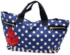 BETSEY JOHNSON Anchor Tote Polka Dot Womens Handbag Blue