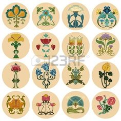 Find Vintage Flowers Label Set Vector stock images in HD and millions of other royalty-free stock photos, illustrations and vectors in the Shutterstock collection. Azulejos Art Nouveau, Motifs Art Nouveau, Design Art Nouveau, Art Nouveau Pattern, Art Nouveau Tiles, Flores Art Nouveau, Art Nouveau Flowers, Art Deco Tattoo, Nouveau Tattoo