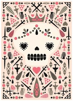 Nice take on the sugar skull - looks like this would make an awesome set of playing cards. hmmm....