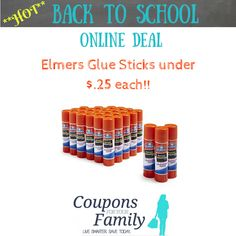 *Hot* Back To School Prices on Elmers Glue Sticks as low as $.25 each! Elmers Glue Stick, Elmer's Glue, Glue Sticks, Back To School Deals, School Items, School Supplies, Online Deals, Hot, Campaign