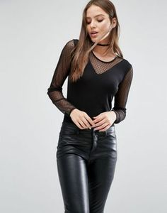Selected Femme Runa Mesh Body with Long Sleeves