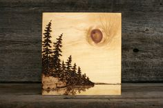 Lakeside Sun Art Block Wood Burning by TwigsandBlossoms on Etsy, $47.00