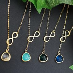 Infinity Charm with Glass Pendant Bridesmaid Necklace - Earrings Nation