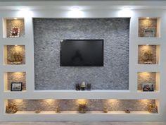 Pin on Tv room design House Ceiling Design, Bedroom False Ceiling Design, Tv Wall Design, House Design, Living Room Wall Units, Living Room Designs, Living Rooms, Modern Tv Wall, Tv Wall Decor