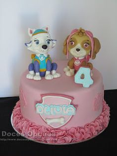 Doces Opções: A Patrulha Pata no 4º aniversário da Olivia Spaniels, Paw Patrol, Birthday Cake, Desserts, Ideas, Food, Sunday School Kids, Cakes For Boys, Decorating Cakes