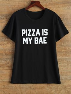 Jewel Neck Pizza Is My Bae T-Shirt - BLACK L AU$20.80