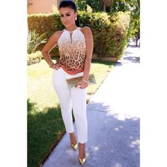 """#ShareIG For the love of white #ootd Top Marciano Pants TopShop  Shoes Giuseppe Zanotti  Clutch Ferragamo Accessories @queenpee code use """"amrezy"""" for 10% discount ✨"""
