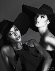 Fabulous shot of Naomi Campbell and Kate Moss for Interview Germany December/January 2012/2013. Love the hats! Photographed by Mert & Marcus.