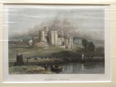 Vintage antiquarian original steel engraving, circa 1835–1850, Kidwelly Castle, Pembrokeshire. Vintage antiquarian original engraving for 'Wanderings in South Wales' by Thomas Roscoe. Engraved by W. Radclyffe from a drawing by D. Cox. Mounted in passepartout and wrapped in plastic cover.   https://nemb.ly/p/r1BYVEcul Happily published via Nembol