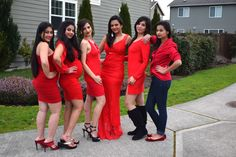Different red dresses,  Indian moms, Group of girls, Girl Friends, Valentine's Day 2016, Cocktail dresses, Real Women, Beautiful Women