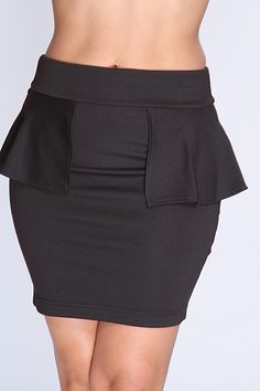 Grab your favorite top to match it with this sexy mini skirt! You can either dress it up or down for any occasion. No matter the occasion youll sure to be center of attention! It features elastic waistband, peplum, and tight fitted. 77% Polyester 19% Rayon 4% Spandex.