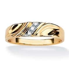 Men's Diamond Accent 18k Yellow Gold Over Sterling Silver Diagonal Wedding Band Ring