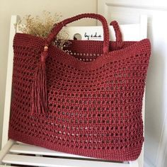 Crochet Market Bag, Crochet Tote, Crochet Handbags, Crochet Purses, Knit Crochet, Mode Crochet, Crochet Shell Stitch, Net Bag, Tote Pattern
