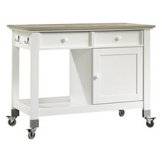 real simple® rolling kitchen island in white | more rolling