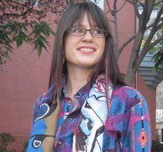 Silk scarf with graffiti  brick blue 14 x 70 by SusanBrandt, $55.00