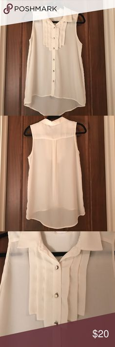 Sleeveless colored button down shirt Button down sleeveless shirt. Detailing front. Been worn twice. one clothing Tops Button Down Shirts