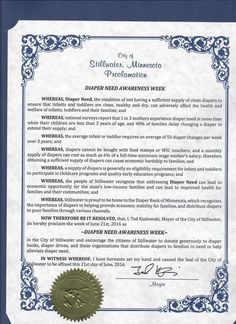 STILLWATER, MN - Mayoral proclamation recognizing Diaper Need Awareness Week (Sep. 26 - Oct. 2, 2016) #DiaperNeed diaperneed.org
