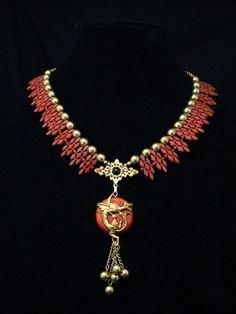 Vintage Lucite Collar Necklace w/ Repousse Griffon Dragon : Signed LaHeir