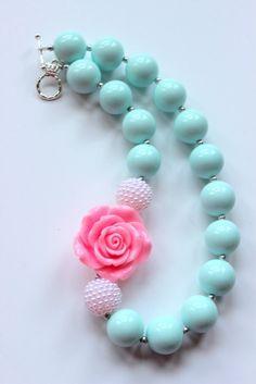 grueso collar de bolas de chicle chicas menta verde y rosa