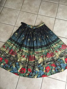 50s circle skirt with amazing floral print fits small by lerobot