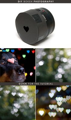"This is so cool! It's called Bokeh. By placing this ""lens"" on your camera you can create little hearts of light everywhere! How neat right?  Tutorial Link: http://www.diyphotography.net/diy_create_your_own_bokeh"