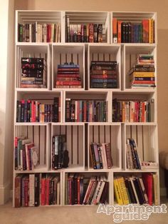 Love to read? Stacked, painted crates make cute library-like shelves.