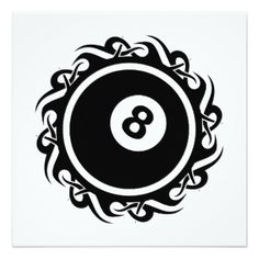 "tribal eightball 5.25"" square invitation card"