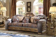Homey Design HD-1302 2pc Casabella Traditional Sofa Loveseat Set