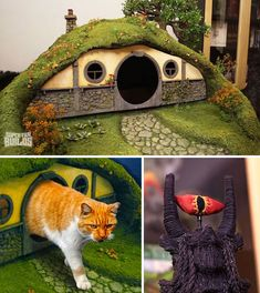 Hobbit-hole kitty litter box and Eye of Sauron cat scratching post Cat Litter Box Enclosure, Cat Scratching Post, Cat Room, Pet Furniture, Animal Projects, Here Kitty Kitty, Diy Stuffed Animals, Crazy Cats, Cool Cats