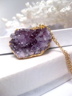 Purple Lavender Shades Of Raw Amethyst Druzy Geode Crystal Cluster Necklace With 24k Gold on Wanelo